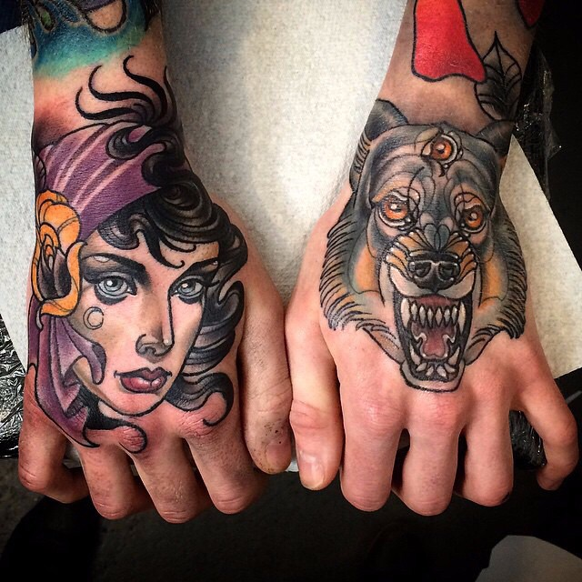 Back of Hands Gypsy Girl and Third Eye Wolf tattoos by Kat Abdy