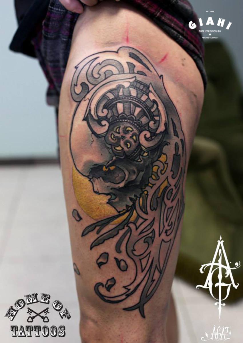 Baroque Skull tattoo by Agat Artemji