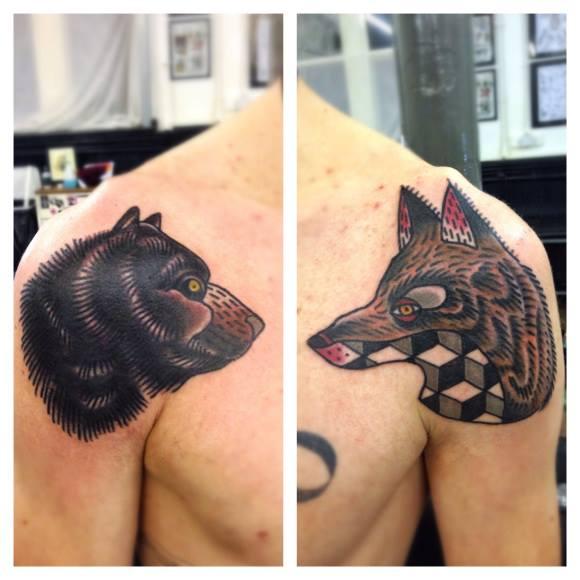 Bear and Wolf New School tattoo by Matt Cooley