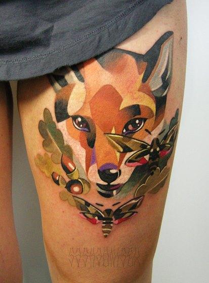 Bees and Fox tattoo by Sasha Unisex