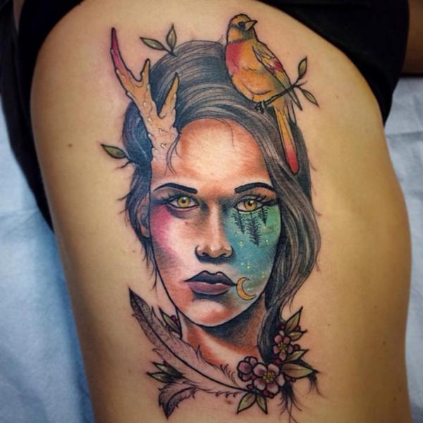 Bird ion Head Forest Eye tattoo by Earth Gasper Tattoo