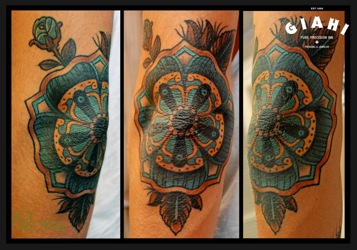 Blue Mandala Flower tattoo by Jack Gallowtree