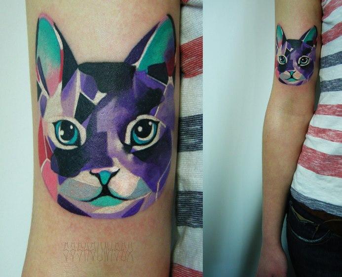 Broken Glass Cat tattoo by Sasha Unisex