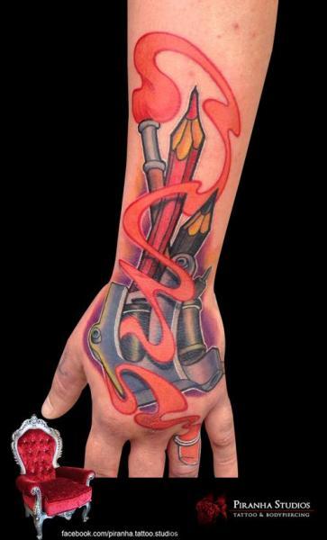 Brush and Pencil tattoo by Piranha Tattoo Supplies