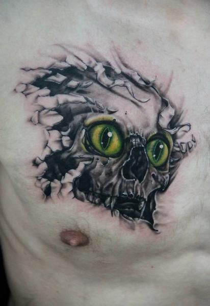 Cat Eyes Look Through Skin Skull tattoo by Skin Deep Art