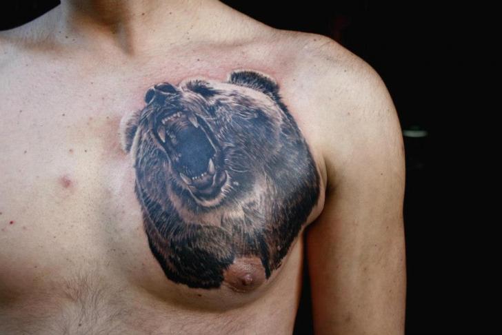 Chest Bear Growl Realistic tattoo by Piranha Tattoo Supplies