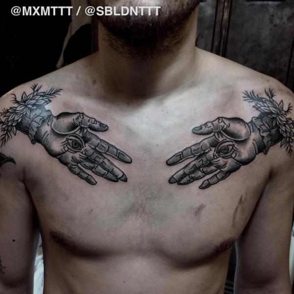 Chest Hand Eyes Graphic tattoo by MXM