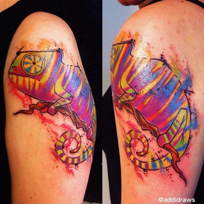 Colorful Chameleon Aquarelle tattoo