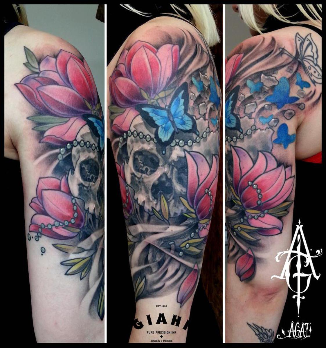 Cracked Butterfly Flowers Skull tattoo by Agat Artemji
