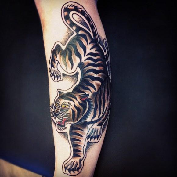 Crawling Tiger Old School tattoo by Matt Cooley