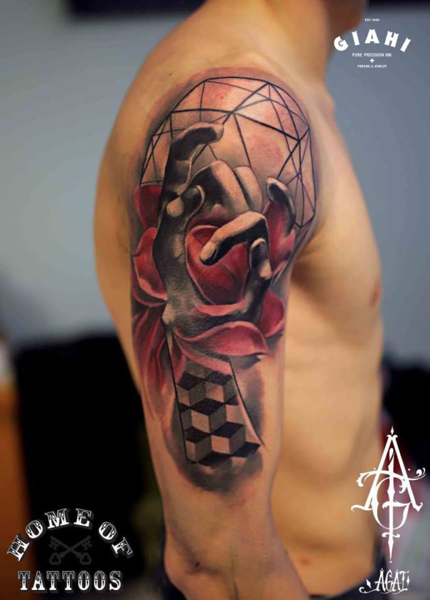 Cubes and Hand Graphic tattoo by Agat Artemji