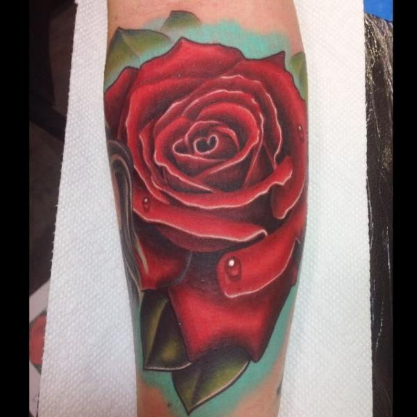 Dew Drops Red Rose Realistic tattoo by Mike Woods