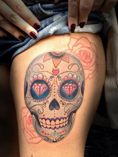 Dimond Eye Chicano Scull tattoo by Resul Odabaş