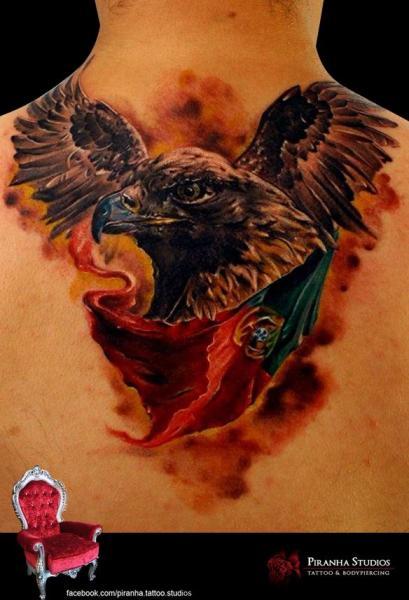 Eagle and Portugal Flag tattoo by Piranha Tattoo Supplies