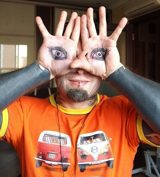 Eye in Hands Pan's Labyrinth Blackwork tattoo