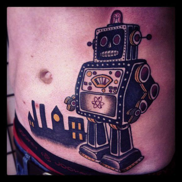 Factory and Nuclear Robot tattoo by Matt Cooley