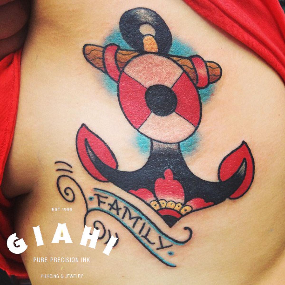 Family Anchor tattoo by Elda Bernardes