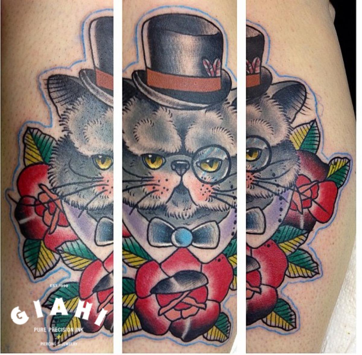 Fat Clever Cat Old School tattoo by Elda Bernardes