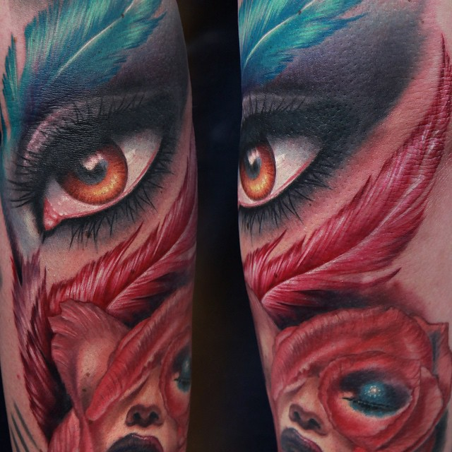Feather Eyes Passion tattoo by Rich Pineda