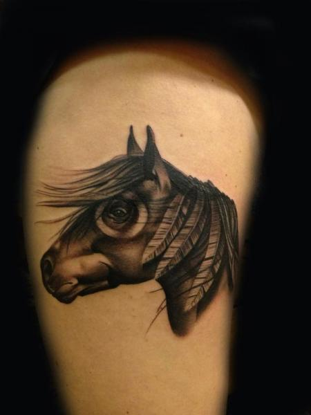 Feather Mane Horse Blackwork tattoo by Transcend Tattoo