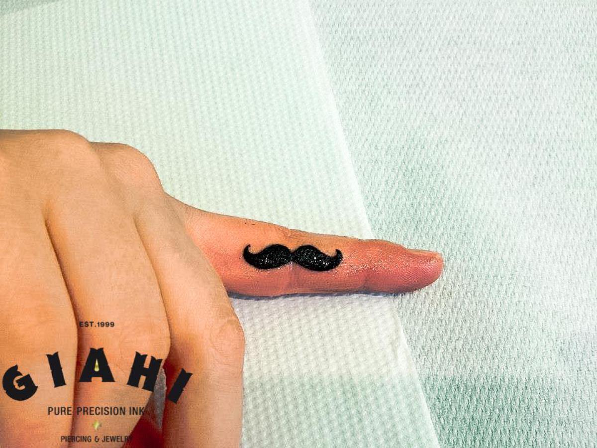 Finger Mustache Blackwork tattoo by Roony