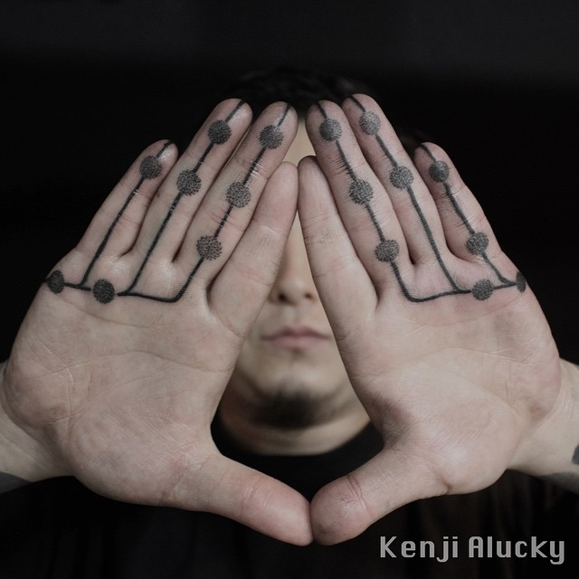 Fingers Dots and Lines Black tattoo by Kenji Alucky