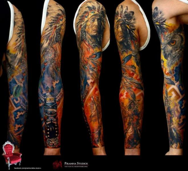 Fire Indian War tattoo sleeve by Piranha Tattoo Supplies