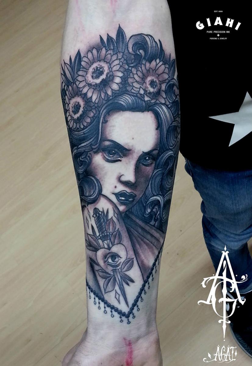 Flower Head Stabbed Heart Girl tattoo by Agat Artemji