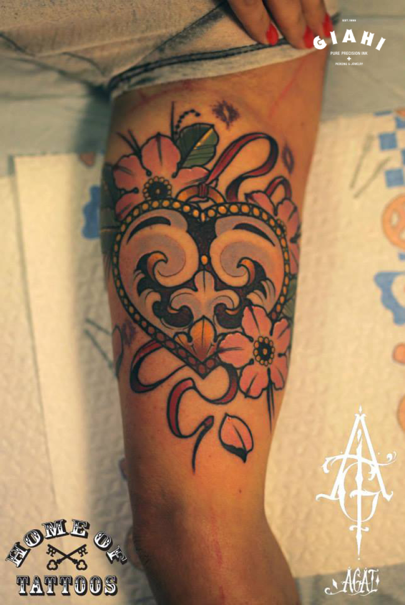 Flower Heart tattoo by Agat Artemji