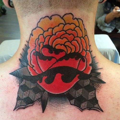Flower Neck tattoo by Nick Baldwin