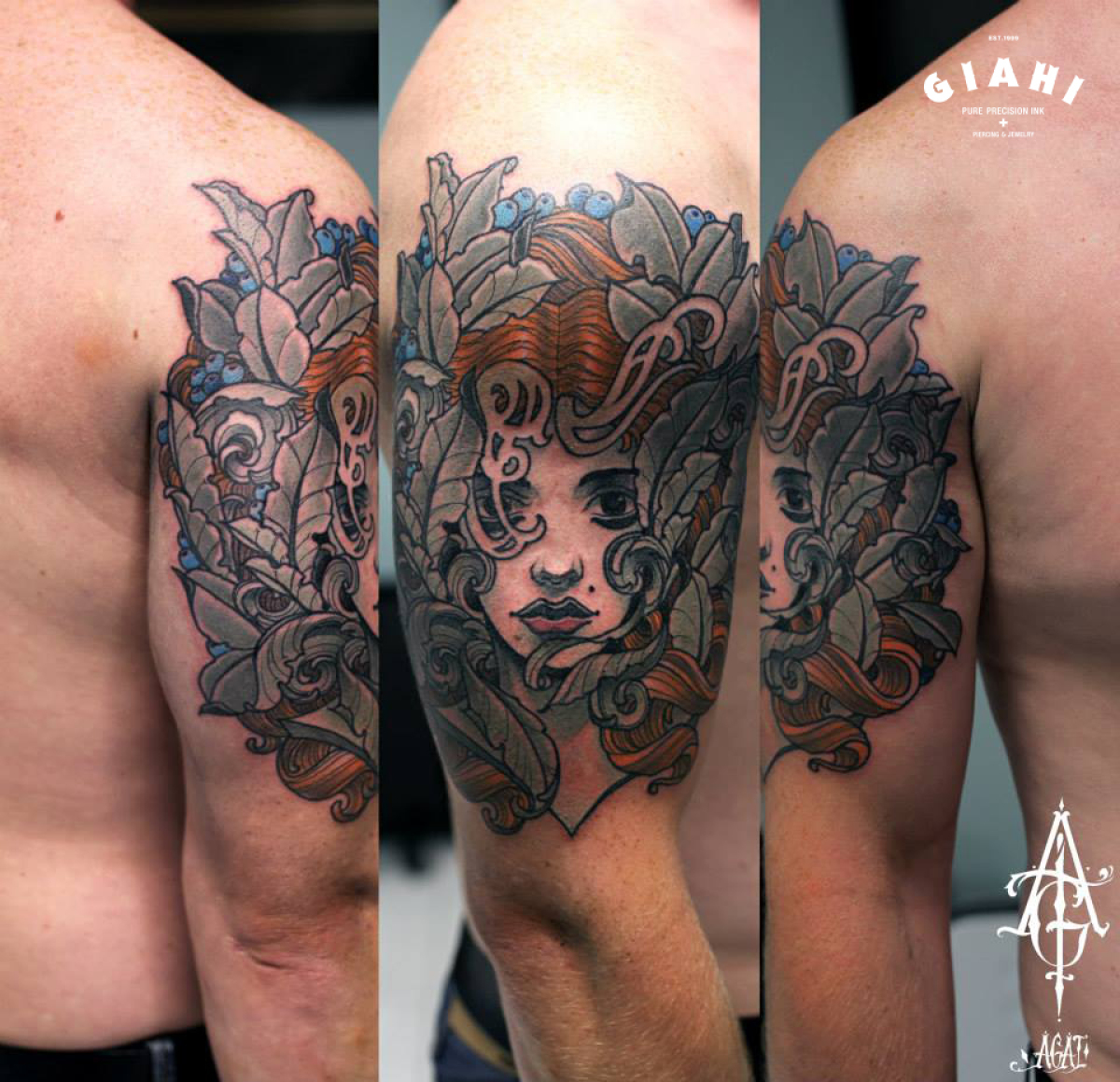 Forest Leaves Girl tattoo by Agat Artemji