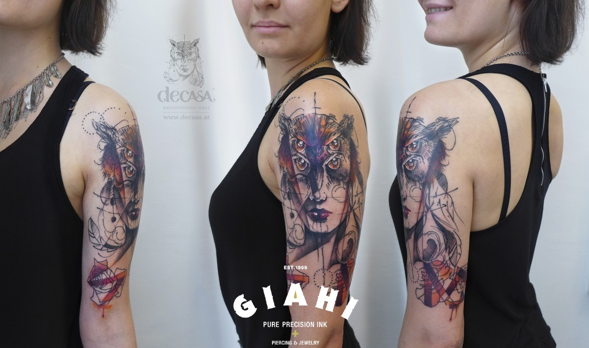 Four Eyes Owl Girl tattoo by Carola Deutsch