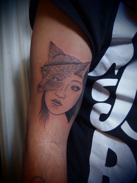 Fox Face Dotwork tattoo by Papanatos Tattoos