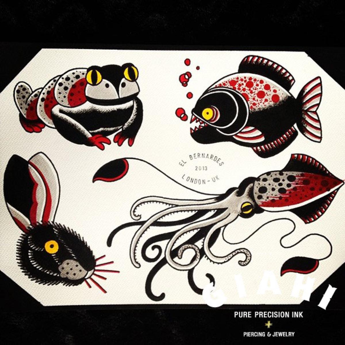 Frog Piranha Hare Squid tattoo ideas by Elda Bernardes