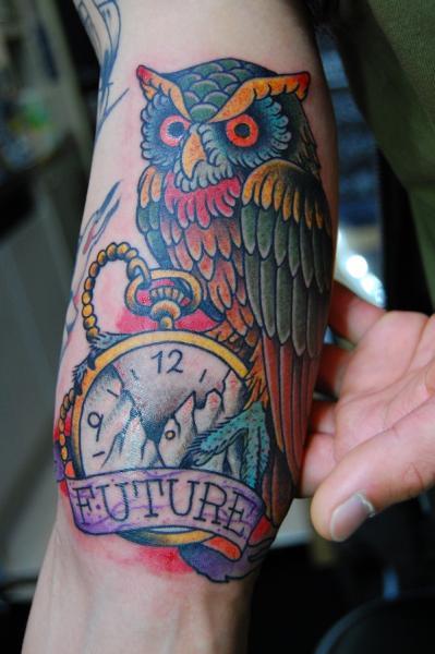 Future Owl New School tattoo by Illsynapse
