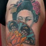 Geisha Fan tattoo by Skin Deep Art japanese style