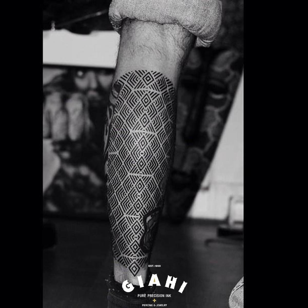 Geometry Lines Rhombus Blackwork tattoo by Andy Cryztalz