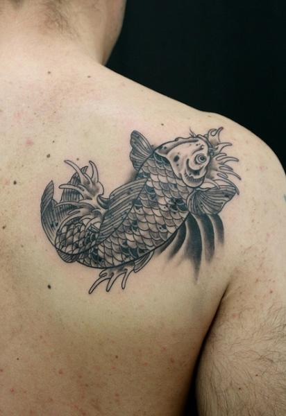 Graphic Splashes Carp tattoo by Skin Deep Art