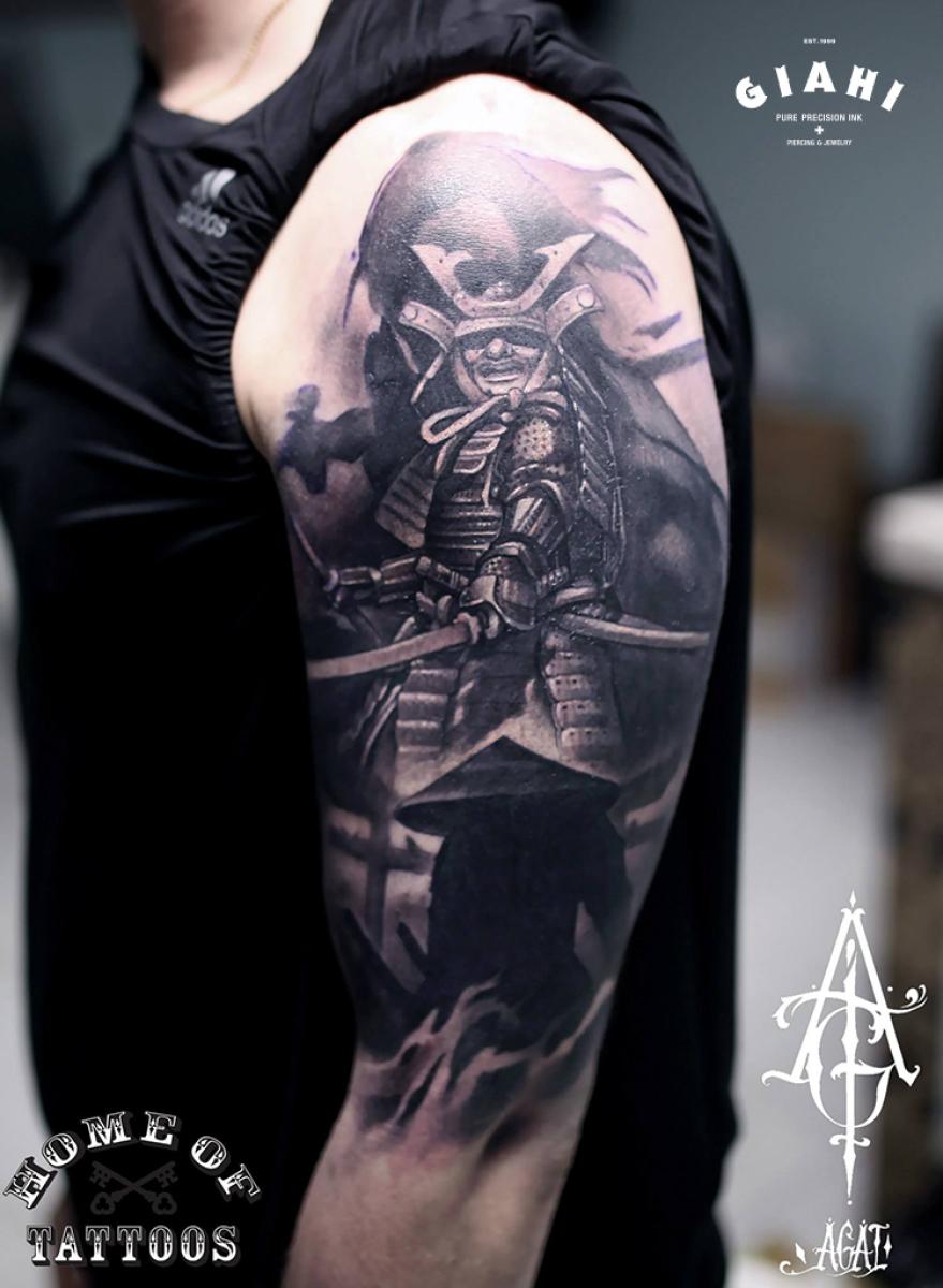 Graphic Warrior Samurai tattoo by Agat Artemji