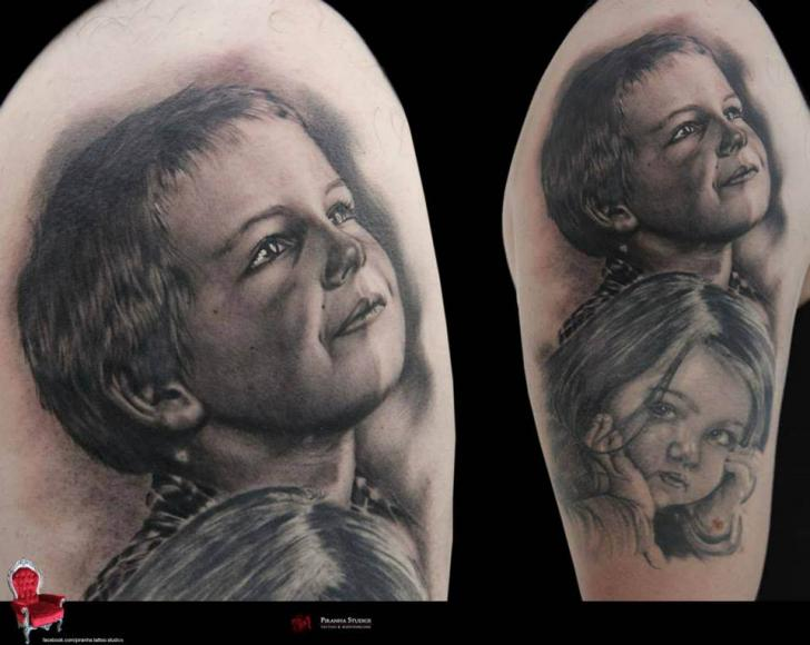 Great Realistic Graphic Kids Portraits tattoo by Piranha Tattoo Supplies