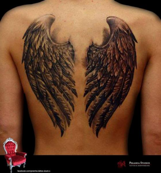 Grey and Black Wings tattoo by Piranha Tattoo Supplies