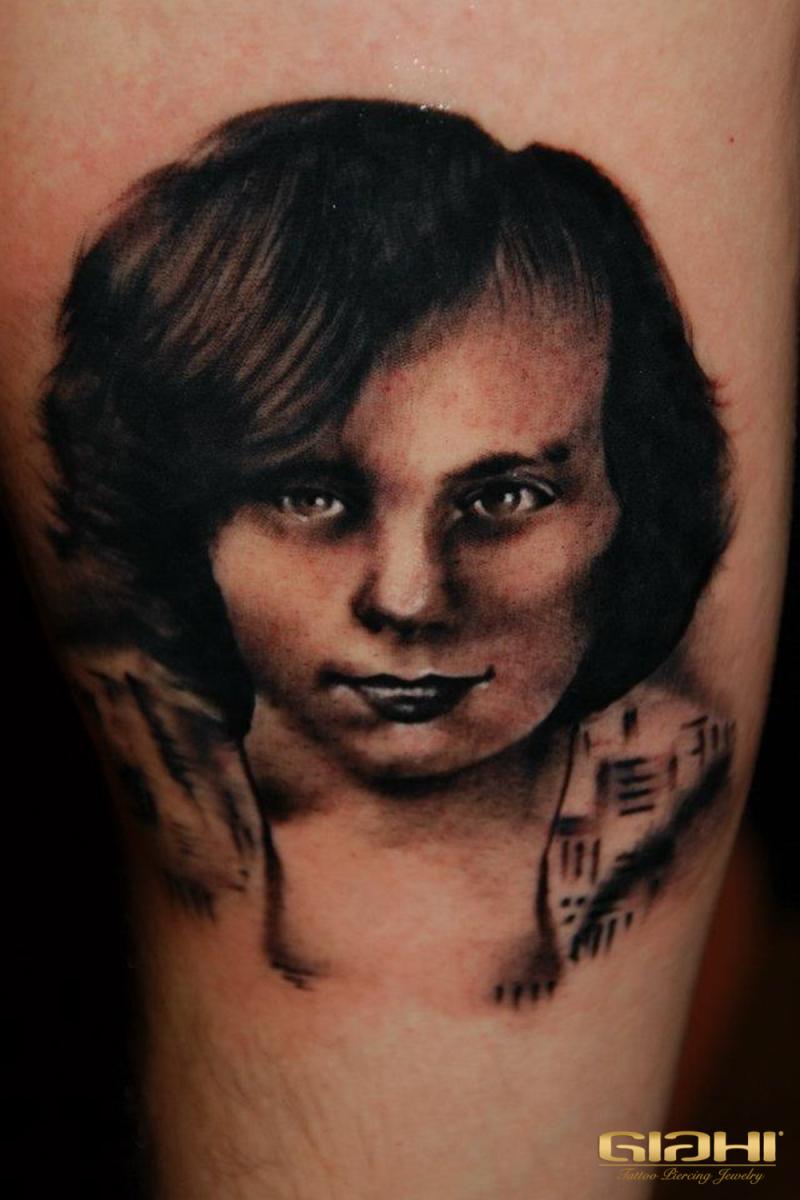 Hairy Face Portrait tattoo by Szilard