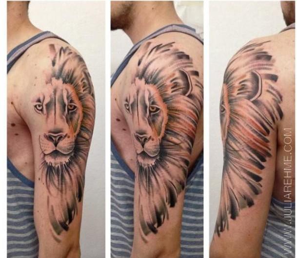 Half Lion Mane Realistic tattoo by Julia Rehme