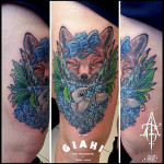 Happy Fox tattoo by Agat Artemji