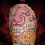 Heart Angie Lettering Flowers tattoo by Hellyeah Tattoos