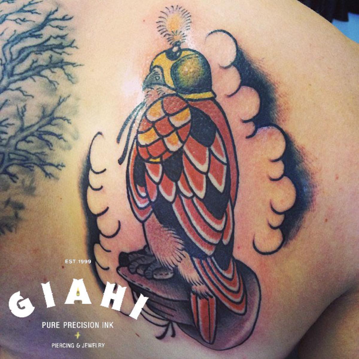 Helmet Lantern Hawk tattoo by Elda Bernardes