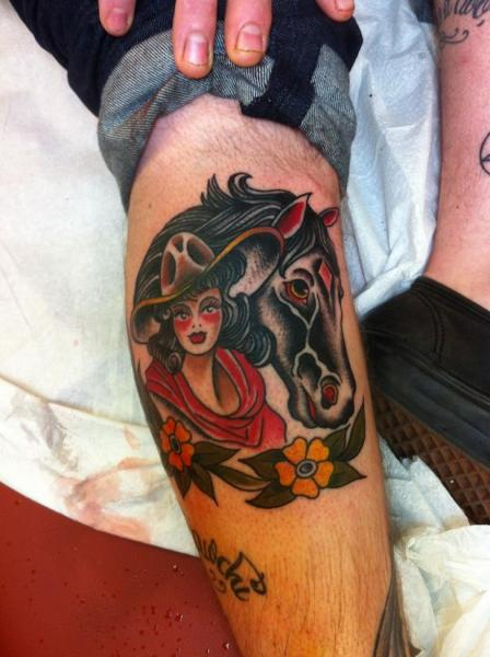 Horse Cowboy Girl Old School tattoo by Three Kings Tattoo