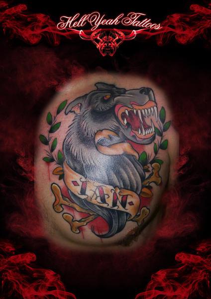 IAN Wolf Lettering tattoo by Hellyeah Tattoos