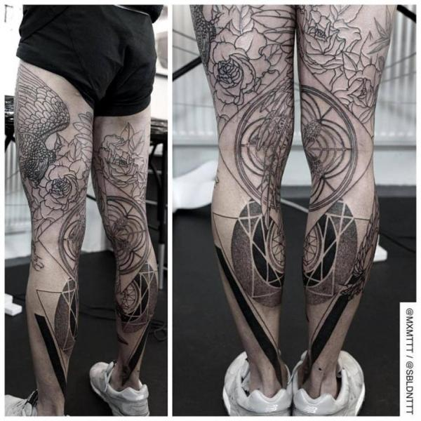 Incredible Legs Dotwork tattoo by MXM