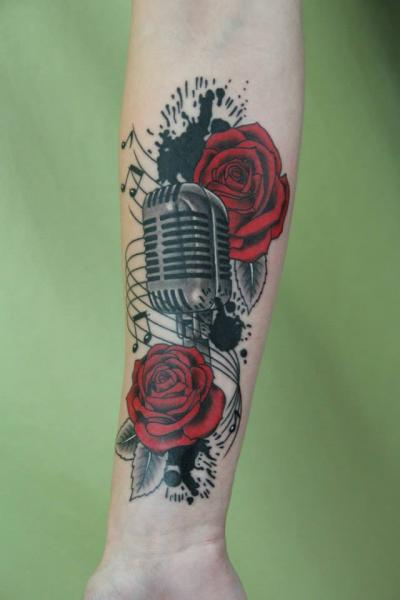 Ink Spots Roses and Microphone tattoo by Skin Deep Art